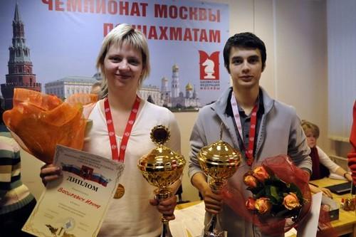 Ирина Василевич и Дмитрий Гордиевский - чемпионы Москвы по шахматам 2013