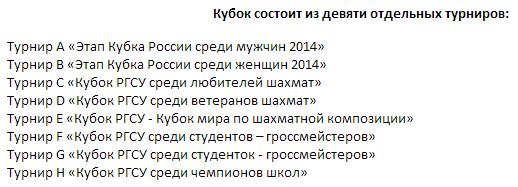 Кубок РГСУ состоит из