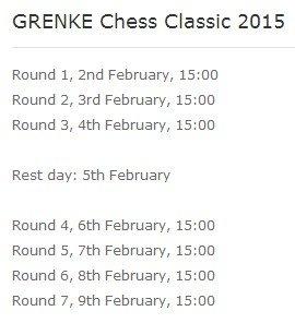 Расписание туров Grenke Chess Classic 2015