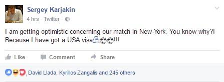 Карякину открыли визу в США 2016