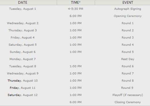 Расписание турнира