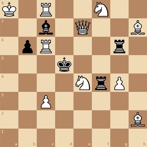 Шахматная задача, белые ставят мат в 2 хода