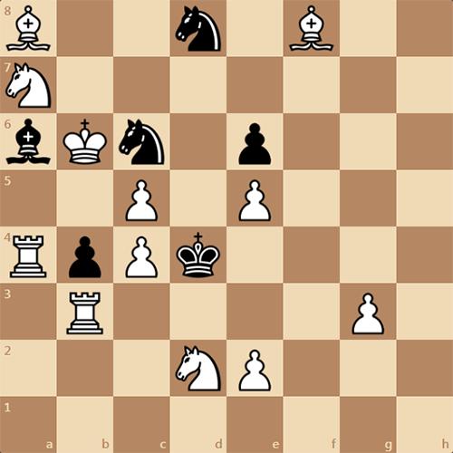 Задача по шахматам, мат в 3 хода, автор В. Руденко