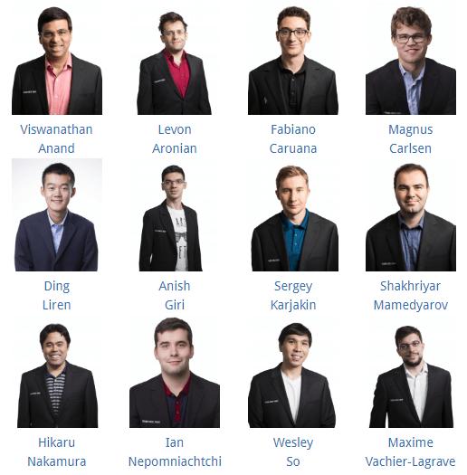 Участники турнира в Загребе, второй этап Grand Chess Tour 2019