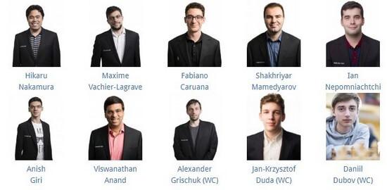 Grand Chess Tour, Париж, 2019 - список участников